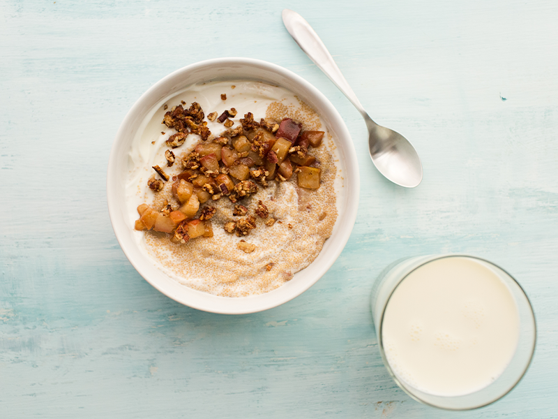 Use Amaranth in porridge and serve with a glass of milk for a great protein-packed vegetarian breakfast.