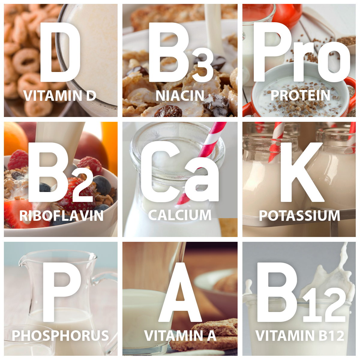 Nutrients in milk include Protein, Calcium, Potassium, vitamin D, vitamin A, vitamin B12, Riboflavin, Phosphorus and Niacin.