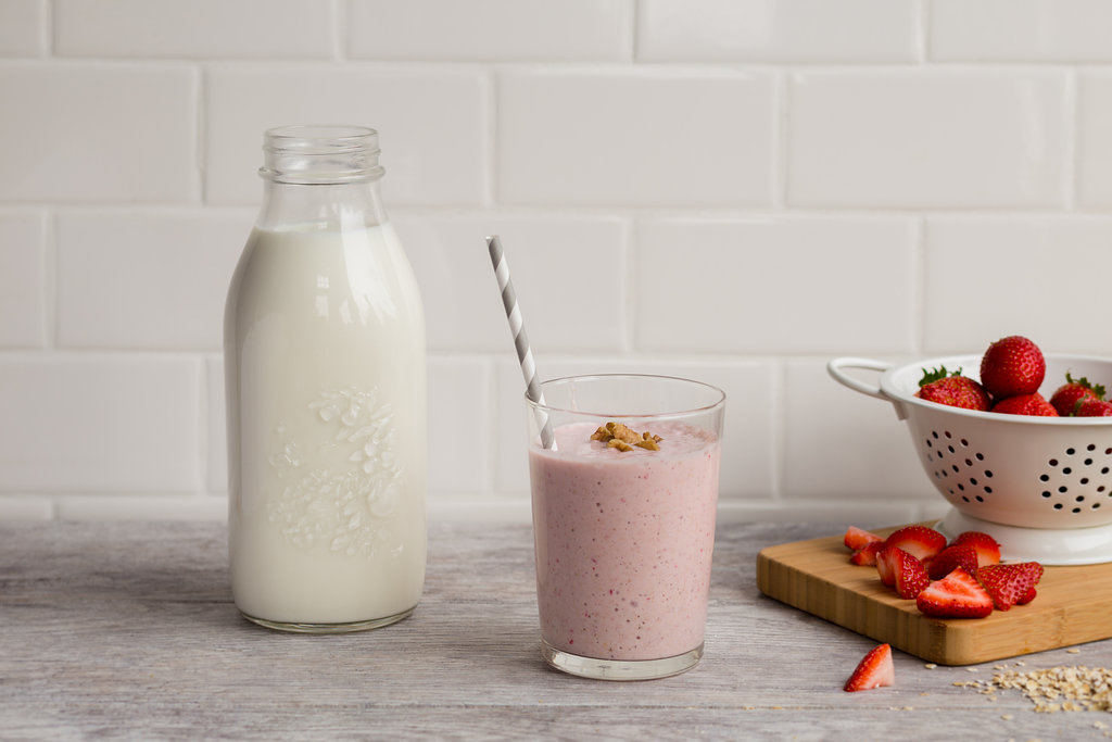 A strawberry smoothie with milk.