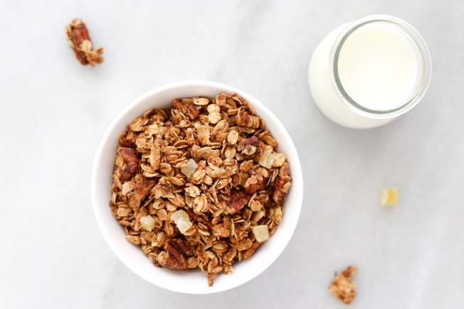 Ginger spice granola and a glass of milk