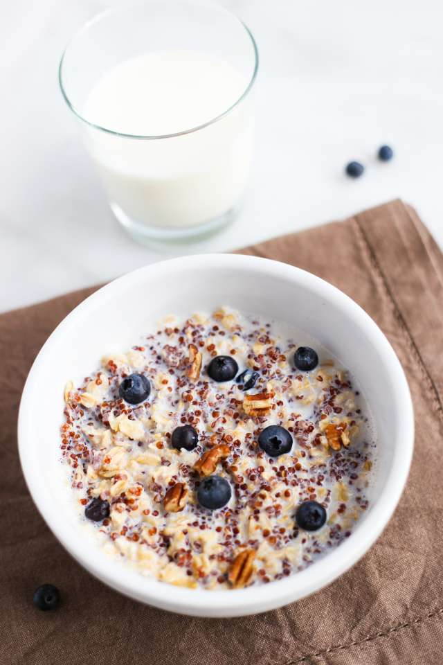 Nutty Blueberry Quinoa Oatmeal Recipe | Milk Life
