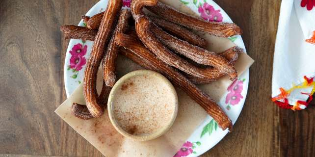 Churros and tres leches dip made from real milk