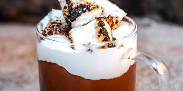 S'mores Italian hot chocolate made with milk